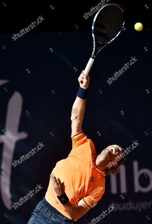 Stock Picture of Daniel Gimeno-Traver of Spain in action against Paolo Lorenzi of Italy during their final match at the Challenger ATP Sopot Open tennis tournament in Gdynia, Poland, 05 August 2018.