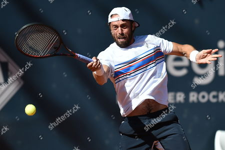Paolo Lorenzi of Italy in action against Daniel Gimeno-Traver of Spain during their final match at the Challenger ATP Sopot Open tennis tournament in Gdynia, Poland, 05 August 2018.