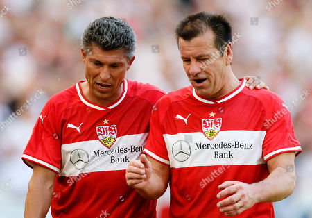 Stuttgart's former player Carlos Dunga (R) and Krassimir Balakow (L) during a friendly soccer match of VfB Stuttgart All stars soccer team in Stuttgart, Germany, 05 August 2018.