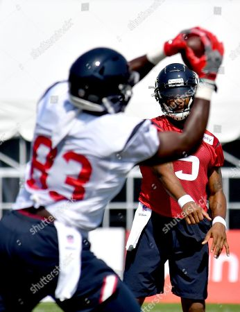 Houston Texans quarterback Stephen Morris (6) throws a pass to tight end Jordan Akins (83) during NFL football training camp in White Sulphur Springs, W.Va