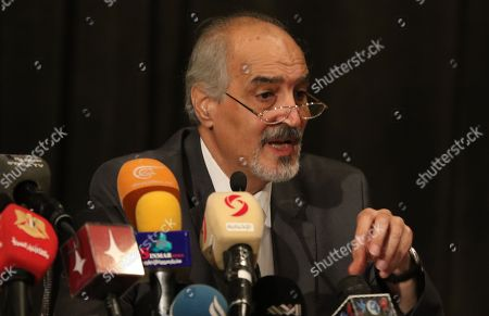 Bashar al-Jaafari Syria's representative to the United Nations speaks during a lecture entitled 'The United Nations and the Syrian crisis in the activities of the thirtieth session of the International Book Fair in the library of Assad in Damascus, Syria, 05 August 2018.