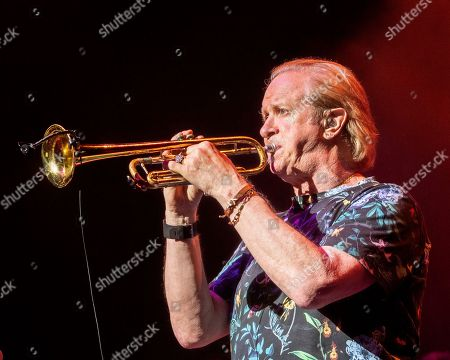 The American iconic rock band Chicago with trumpet player Lee Loughnane performs at the Xfinity Center, in Mansfield, Mass