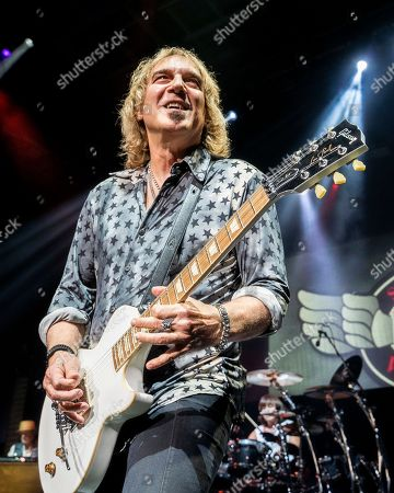 The American iconic rock band REO Speedwagon with lead guitarist Dave Amato performs at the Xfinity Center, in Mansfield, Mass
