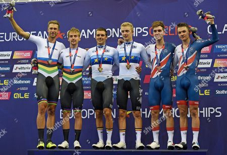 (L-R) Silver medal winners Roger Kluge and Theo Reinhardt of Germany, Gold medal winners Kenny De Ketele and Robbe Ghys of Belgium and Bronze medal winners Oliver Wood and Ethan Hayter of Britain celebrate on the podium after the men's Madison final of the Track Cycling events at the Glasgow 2018 European Championships in Glasgow, Britain, 06 August 2018