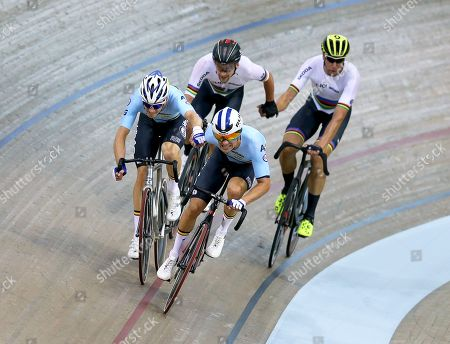 Belgium's Kenny De Ketele (front R) and Robbe Ghys (front L) are on their way to win the gold medal in the men's Madison final of the Track Cycling events at the Glasgow 2018 European Championships in Glasgow, Britain, 06 August 2018. Germany's Theo Reinhardt (back L) and Roger Kluge (back R) took the silver medal.