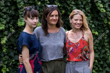 (L-R) Russian actress Anastasia Shevtsova, Swiss director Bettina Oberli and French actress Melanie Thierry pose during a photocall for the movie 'Le vent tourne' at the 71st Locarno International Film Festival, in Locarno, Switzerland, 06 August 2018. The Festival del film Locarno 2018 runs from 01 to 11 August.