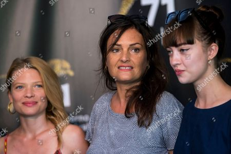 (L-R) French actress Melanie Thierry, Swiss director Bettina Oberli and Russian actress Anastasia Shevtsova pose during a photocall for the movie 'Le vent tourne' at the 71st Locarno International Film Festival, in Locarno, Switzerland, 06 August 2018. The Festival del film Locarno 2018 runs from 01 to 11 August.