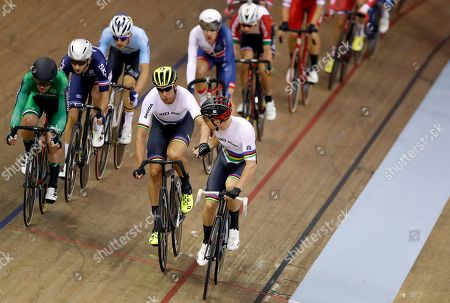Roger Kluge, center left, and Then Reinhardt of Germany compete in the madison men final at the European Cycling Championships in Glasgow, Scotland