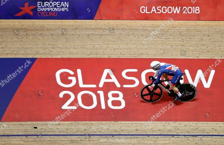 Philip Hindes of Great Britain races in a sprint men quarterfinals heat at the European Cycling Championships in Glasgow, Scotland