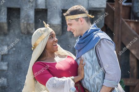 Siobhan Cha Cha (Guinevere) and Henry Wyrley-Birch (Lancelot) from King Arthur. London's Free Open Air Theatre returns to The Scoop at Summer