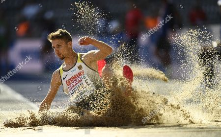 Fabian Heinle of Germany competes in the men's Long Jump qualification at the Athletics 2018 European Championships, Berlin, Germany, 06 August 2018.