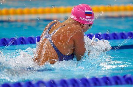 Yuliya Efimova of Russia swims in a 200 meters breaststroke women semifinal at the European Swimming Championships in Glasgow, Scotland