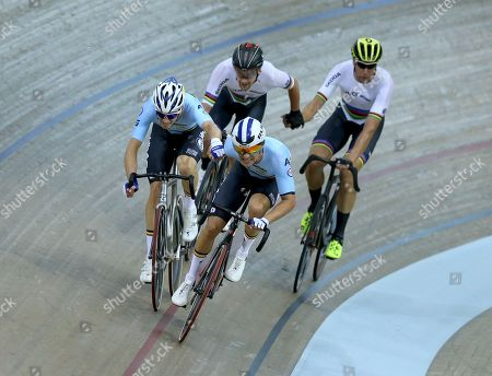 Robbie Ghys (L, front) and Kenny De Ketele (R, front) of Belgium and Theo Reinhardt (L, back) and Roger Kluge (R, back) of Germany compete in the men's Madison final of the Track Cycling events at the Glasgow 2018 European Championships in Glasgow, Britain, 06 August 2018.