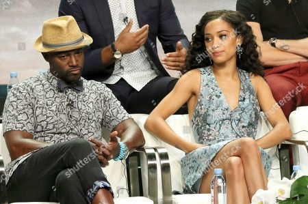 """Taye Diggs, Samantha Logan. Taye Diggs, left, and Samantha Logan participate in the """"All American"""" panel during the C W Stoneking Television Critics Association Summer Press Tour at The Beverly Hilton hotel, in Beverly Hills, Calif"""