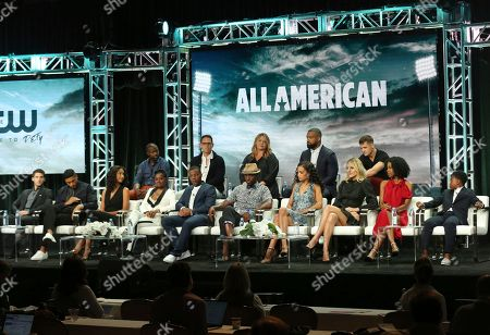 "Cody Christian, Michael Evans Behling, Greta Onieogou, Bre-Z, Daniel Ezra, Taye Diggs, Samantha Logan, Monet Mazur, Karimah Westbrook, Jalyn Hall, Rob Hardy, Greg Berlanti, April Blair, Spencer Paysinger, Robbie Rogers. Cody Christian, from front row left, Michael Evans Behling, Greta Onieogou, Bre-Z, Daniel Ezra, Taye Diggs, Samantha Logan, Monet Mazur, Karimah Westbrook, Jalyn Hall, and from back row left, Rob Hardy, Greg Berlanti, April Blair, Spencer Paysinger and Robbie Rogers participate in the ""All American"" panel during the C W Stoneking Television Critics Association Summer Press Tour at The Beverly Hilton hotel, in Beverly Hills, Calif"