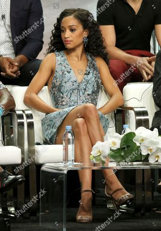 """Samantha Logan participates in the """"All American"""" panel during the C W Stoneking Television Critics Association Summer Press Tour at The Beverly Hilton hotel, in Beverly Hills, Calif"""