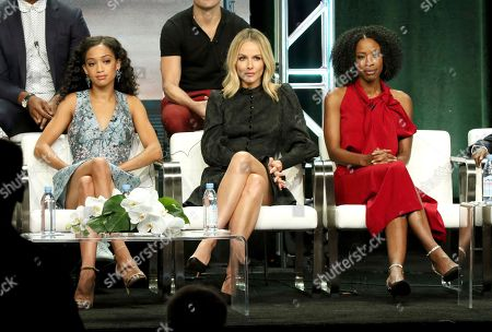 """Samantha Logan, Monet Mazur, Karimah Westbrook. Samantha Logan, fro left, Monet Mazur and Karimah Westbrook participate in the """"All American"""" panel during the C W Stoneking Television Critics Association Summer Press Tour at The Beverly Hilton hotel, in Beverly Hills, Calif"""