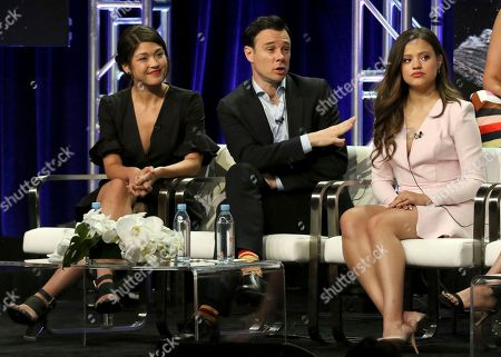"""Ellen Tamaki, Rupert Evans, Sarah Jeffery. Ellen Tamaki, from left, Rupert Evans and Sarah Jeffery participate in the """"Charmed"""" panel during the CW Television Critics Association Summer Press Tour at The Beverly Hilton hotel, in Beverly Hills, Calif"""