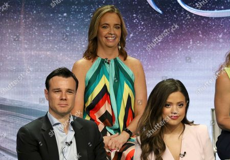 """Jessica O'Toole, Rupert Evans, Sarah Jeffery. Executive producer Jessica O'Toole, background center, and from front row left, Rupert Evans and Sarah Jeffery participate in the """"Charmed"""" panel during the CW Television Critics Association Summer Press Tour at The Beverly Hilton hotel, in Beverly Hills, Calif"""