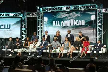 "Cody Christian, Michael Evans Behling, Greta Onieogou, Bre-Z, Daniel Ezra, Taye Diggs, Samantha Logan, Monet Mazur, Karimah Westbrook, Jalyn Hall, Rob Hardy, Greg Berlanti, April Blair, Spencer Paysinger, Robbie Rogers. Cody Christian, first row from left, Michael Evans Behling, Greta Onieogou, Bre-Z, Daniel Ezra, Taye Diggs, Samantha Logan, Monet Mazur, Karimah Westbrook, Jalyn Hall, Rob Hardy, second row from left, Greg Berlanti, April Blair, Spencer Paysinger and Robbie Rogers participate in the The CW Network ""All American"" panel at the 2018 Television Critics Association Summer Press Tour at The Beverly Hilton, in Beverly Hills, Calif"