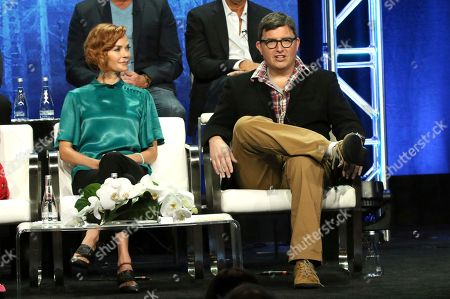 """Nathalie Boltt, Roberto Aguirre-Sacasa. Nathalie Boltt, left, and executive producer Roberto Aguirre-Sacasa participate in the """"Riverdale"""" panel during the CW Television Critics Association Summer Press Tour at The Beverly Hilton hotel, in Beverly Hills, Calif"""