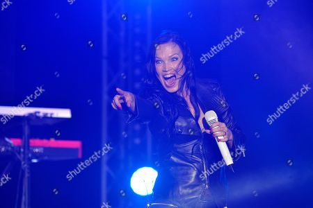 Stock Photo of Finnish rock singer Tarja Turunen performs on stage during a concert at the annual Byblos International Festival (BIF), in the ancient city of Byblos (Jbeil), north of Beirut, Lebanon, 06 August 2018. The festival runs from 01 to 24 August.