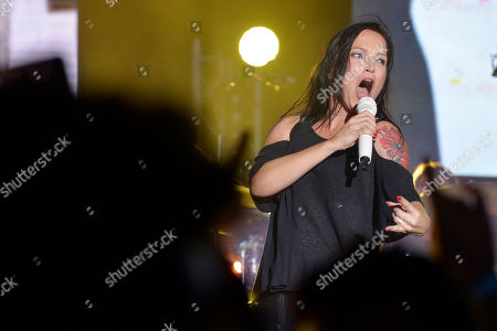 Finnish rock singer Tarja Turunen performs on stage during a concert at the annual Byblos International Festival (BIF), in the ancient city of Byblos (Jbeil), north of Beirut, Lebanon, 06 August 2018. The festival runs from 01 to 24 August.