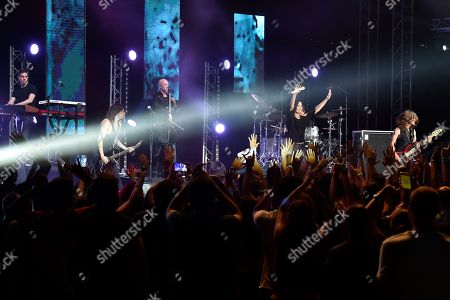 Finnish rock singer Tarja Turunen (2-R) performs on stage during a concert at the annual Byblos International Festival (BIF), in the ancient city of Byblos (Jbeil), north of Beirut, Lebanon, 06 August 2018. The festival runs from 01 to 24 August.
