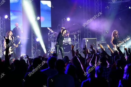 Finnish rock singer Tarja Turunen (C) performs on stage during a concert at the annual Byblos International Festival (BIF), in the ancient city of Byblos (Jbeil), north of Beirut, Lebanon, 06 August 2018. The festival runs from 01 to 24 August.