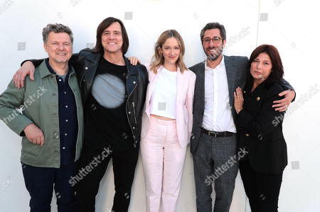 """Michel Gondry, executive producer/director, Jim Carrey, executive producer, Judy Greer, Dave Holstein, executive producer/writer, and Catherine Keener at the """"Kidding"""" Panel at Showtime TCA Summer Press Tour 2018"""