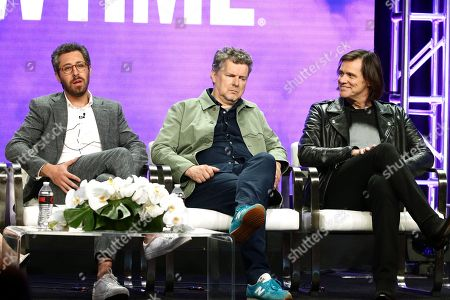 """Dave Holstein, executive producer/writer, Michel Gondry, executive producer/director, and Jim Carrey, executive producer, speak at the """"Kidding"""" Panel at Showtime TCA Summer Press Tour 2018"""