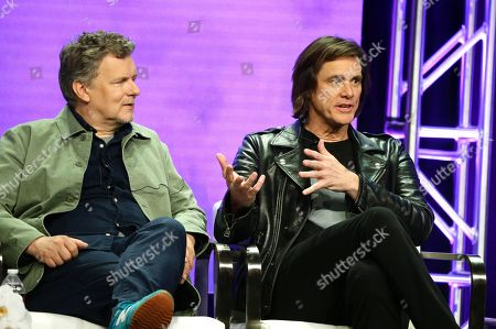 """Michel Gondry, executive producer/director, and Jim Carrey, executive producer, speak at the """"Kidding"""" Panel at Showtime TCA Summer Press Tour 2018"""