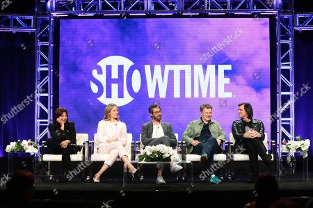 """Catherine Keener, Judy Greer, Dave Holstein, executive producer/writer, Michel Gondry, executive producer/director, and Jim Carrey, executive producer, speak at the """"Kidding"""" Panel at Showtime TCA Summer Press Tour 2018"""