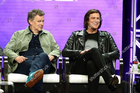 """Stock Image of Michel Gondry, executive producer/director, and Jim Carrey, executive producer, speak at the """"Kidding"""" Panel at Showtime TCA Summer Press Tour 2018"""