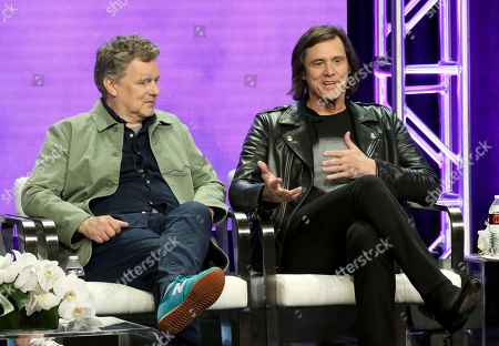 """MICHAEL GONDRY, Jim Carrey. Executive producer/director MICHAEL GONDRY, left, and Jim Carrey participate in the """"Kidding"""" panel during the Showtime Television Critics Association Summer Press Tour at The Beverly Hilton hotel, in Beverly Hills, Calif"""