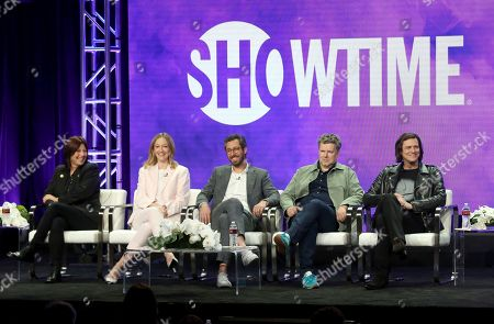 """Catherine Keener, Judy Greer, Dave Holstein, MICHAEL GONDRY, Jim Carrey. Catherine Keener, from left, Judy Greer, executive producer/writer Dave Holstein, executive producer/director MICHAEL GONDRY and Jim Carrey participate in the """"Kidding"""" panel during the Showtime Television Critics Association Summer Press Tour at The Beverly Hilton hotel, in Beverly Hills, Calif"""