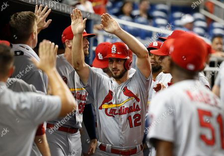 St. Louis Cardinals' Paul DeJong (12) celebrates with teammates after he scored when Matt Carpenter was walked during the ninth inning of a baseball game against the Miami Marlins, in Miami. The Marlins defeated the Cardinals 2-1