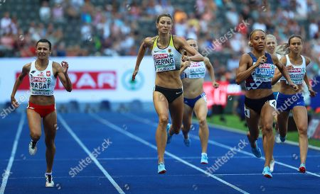 (L-R) Anna Sabat of Poland, Christina Hering of Germany, and Renelle Lamote of France compete in the women's 800m heats at the Athletics 2018 European Championships, Berlin in Germany, 07 August 2018.