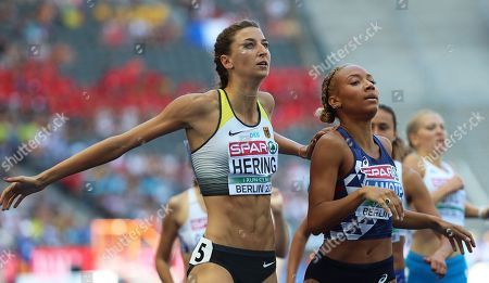 Christina Hering (L) of Germany and Renelle Lamote (R) of France compete in the women's 800m heats at the Athletics 2018 European Championships, Berlin in Germany, 07 August 2018.