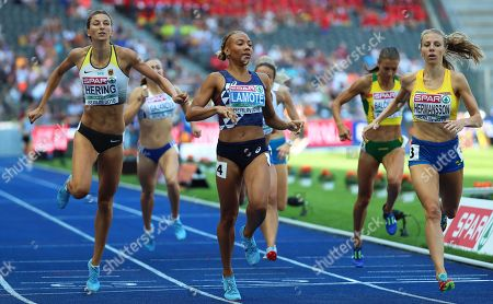 (L-R) Christina Hering of Germany, Renelle Lamote of France, and Hanna Hermansson of Sweden compete in the women's 800m heats at the Athletics 2018 European Championships, Berlin in Germany, 07 August 2018.