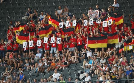 Stock Image of Support for German 100m sprinter Julian Reus at the Athletics 2018 European Championships in Berlin, Germany, 07 August 2018.