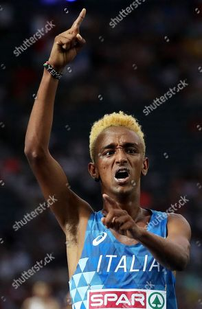 Yemaneberhan Crippa of Italy celebrates after placing third in the men's 10000m final at the Athletics 2018 European Championships in Berlin, Germany, 07 August 2018.
