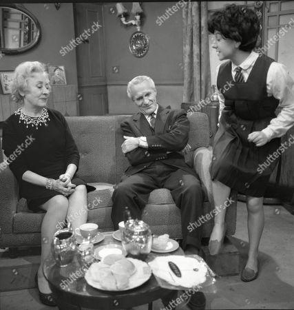 Doris Speed (as Annie Walker), Ian Colin (as Arthur Forsythe-Jones) and Jennifer Moss (as Lucille Hewitt)