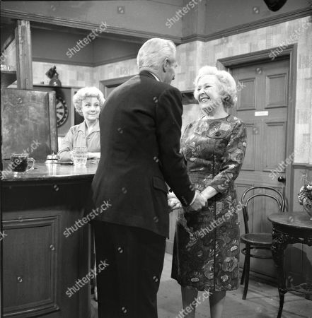 Stock Picture of Betty Alberge (as Florrie Lindley), Ian Colin (as Arthur Forsythe-Jones) and Doris Speed (as Annie Walker)