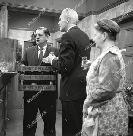 Stock Image of Frank Pemberton (as Frank Barlow), Ian Colin (as Arthur Forsythe-Jones) and Margot Bryant (as Minnie Caldwell)