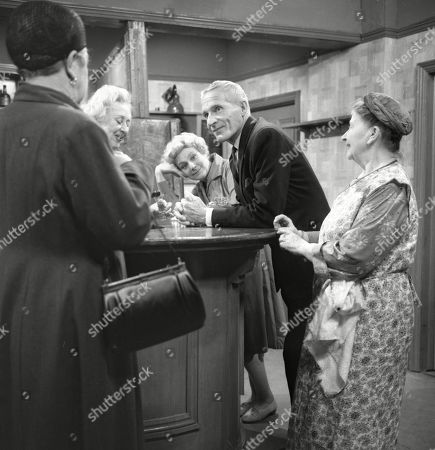 Violet Carson (as Ena Sharples), Doris Speed (as Annie Walker), Betty Alberge (as Florrie Lindley), Ian Colin (as Arthur Forsythe-Jones) and Margot Bryant (as Minnie Caldwell)