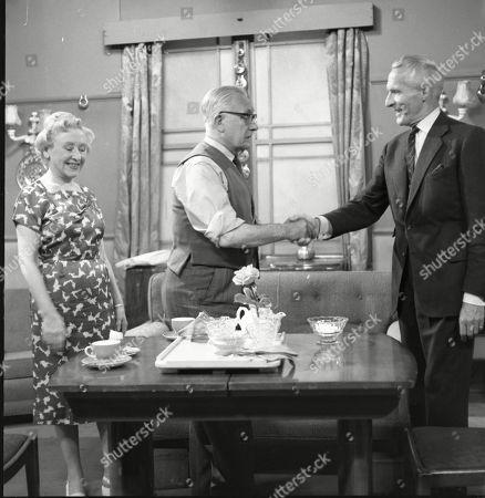 Stock Photo of Doris Speed (as Annie Walker), Arthur Leslie (as Jack Walker) and Ian Colin (as Arthur Forsythe-Jones)