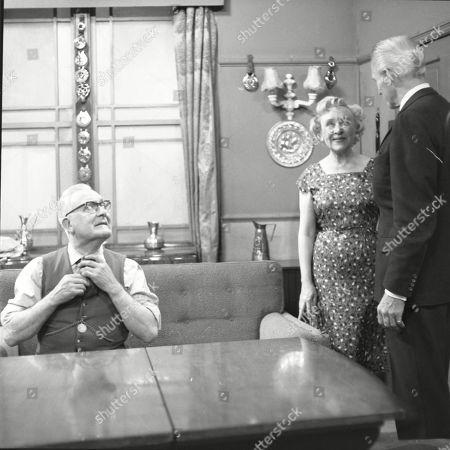 Arthur Leslie (as Jack Walker), Doris Speed (as Annie Walker) and Ian Colin (as Arthur Forsythe-Jones)