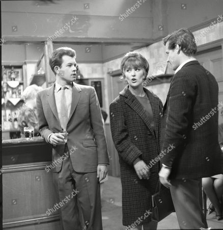 Alan Rothwell (as David Barlow), Christine Hargreaves (as Christine Appleby) and William Roache (as Ken Barlow)