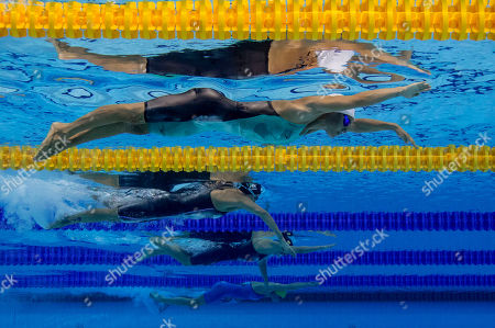 (From top) Pernille Blume of Denmark and Federica Pellegrini of Italy compete in the  at the Glasgow 2018 European Swimming Championships, Glasgow, Britain, 07 August 2018.